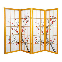 Oriental Furniture - 4 ft. Tall Cherry Blossom Shoji Screen - Honey - 4 Panels - Whether used to divide a space or as colorful decor, this Cherry Blossom Shoji Screen will bring an elegant Eastern accent to your home. The image of a blossoming cherry tree, an ancient symbol of Japan, is printed on authentic Shoji rice paper, a traditional building material used in Japanese homes for centuries. Lightweight, foldable, and highly portable, this screen is a beautiful way to divide a room or conceal a space.