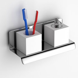 Componendo - Componendo | Tuy Soap Dispenser + Tooth Brush Holder - Made in Italy by Componendo.A part of the Tuy Collection. The Tuy Soap Dispenser and Tooth Brush Holder adds elegant aesthetics and efficient storage to any bathroom vanity or sink console. The compact size of this vital accessory lets you store toothbrushes, hairbrushes, and more alongside your soap or lotion for a streamline cleansing process. Available in white with a stainless steel tray. Product Features: