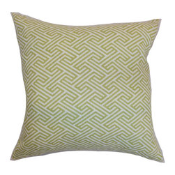 "The Pillow Collection - Graz Geometric Pillow Spring Green 18"" x 18"" - This engaging geometric accent pillow is a perfect decor piece which you can incorporate in your living room, bedroom or guestroom. This square pillow features a unique geometric print pattern in summery shades of spring green against a natural-hued background. Style your bed, sofa or sectionals with this chic 18"" pillow for a contemporary look. Made from 100% plush and durable cotton fabric. Hidden zipper closure for easy cover removal.  Knife edge finish on all four sides.  Reversible pillow with the same fabric on the back side.  Spot cleaning suggested."