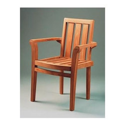 Anderson Teak - Classic Unfinished Stackable Armchair - Set of 4 - This classic Natural Finished Stacking Teak Arm Chair combines the natural beauty of exotic Teak wood with the convenience of a stackable chair.  The tri-panel back and slatted seat add strength and support.  Elegance and practicality at a great value!  Relish an amazing adventure flick and those that even more amazing glass of Cote Rotie in your Three Slat Back Solid Teak Wood Arm Chair, an old American piece demonstrative of graceful artisan work, idyllic design and an understanding that even the most unassuming of delights should be defined by unadulterated luxury, charm, and infinite appeal.  Tri panel back mixes well with arched armrests and smooth lines. * Set of 4. Slat back and seat design. With arms. Easy to storage, just stack it and you will save place. Teak wood construction. Classic design. No assembly required. Overall: 25 in. W x 18 in. D x 34 in. H (17 lbs.). Seat height: 18 in.Classic Stacking Dining Armchair is a classic design, which makes this the most popular stacking chair. Simple and stylish for all your outdoor needs. Compliments all of our Teak dining, coffee and folding tables. Can easily stack 4 chairs high. It is a beautiful addition to your garden, backyard or patio furniture.