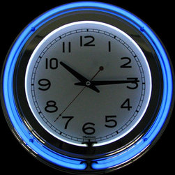 Trademark Global - Retro Neon Wall Clock (Blue) - Color: BlueBring back happy memories with this fabulous retro style wall clock.  Bright and colorful, it features two brilliant colored neon rings.  The center white ring highlights the bright white dial making the numbers highly visible and easy to read.  A stunning blue neon ring encircles the entire clock face creating a spectacular effect against the polished chrome finish.  Fun and practical, this clock is available in your choice of colors and also makes a great gift. Includes UL listed AC adapter. High quality retro neon clock with two neon rings. Accurate quartz AA clock movement. Bright White neon on the inside to light up the time and a vibrant color ring on the outside. Pictured in Blue. High gloss chrome molded clock case adds to the bright shine of the neon. High grade glass cover. 14 in. Dia. x 3 in. D (7 lbs.)
