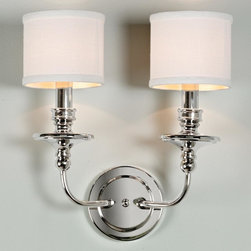 Springfield Sconce with Linen Drum Shades 2 LT - 3 finishes! -