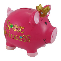 Zeckos - Hot Pink Space Princess Piggy Bank - This hot pink princess piggy bank is just the thing to encourage a saving habit, and it adds an adorable accent to your little princess's sleeping chambers. Made of cold cast resin, it measures 5 3/4 inches tall, 6 1/2 inches long, and 5 inches deep. Each piece is lovingly hand painted with bright, cheerful colors, and the rhinestones in the crown give it the right amount of sparkle. The bank empties via a plastic plug on the bottom.