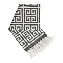 """Jonathan Adler - Jonathan Adler Greek Key Throw - A familiar pattern meets an ultra soft weave on Jonathan Adler's Greek Key throw blanket. Finished with tassel trim, this modern textile lends comfort and style in neutral black and white. 60""""W x 60""""L; 100% baby alpaca; Reverse color palette on back side"""