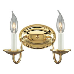 Progress Lighting - Americana Collection Polished Brass 2-Lt. wall bracket with White finish candle - Americana Collection Polished Brass 2-Lt. wall bracket with White finish candle sleeves Model Number: P2936-10 Two-light wall bracket in the timeless Americana collection with delicate arms and candelabra lamps that sparkle against the classic Polished Brass finish.Style: Traditional/Classic Finish: Polished Brass Size: 10-1/8 In. W. x 5-3/4 In. ht. Shade/Glass: White finish candle sleeves Lamps: two Candelabra Base lamps 60w max. UL Listed: Yes UL-CUL 120 volt