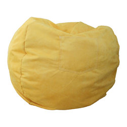 """Fun Furnishings - Fun Furnishings Micro Suede Large Bean Bag in Canary Yellow - What a great place to plop down and relax. Each bag come with a handy pocket to store the clicker or any other prized possession. The outer cover is removable for cleaning. The inner liner bag securely contains new fire retardant �beads"""" and is refillable too. Cleaning the cover. We use only fine upholstery-grade fabrics that can take lots of use from kids. Our micro Suede's, denims and chenille's are all washable."""