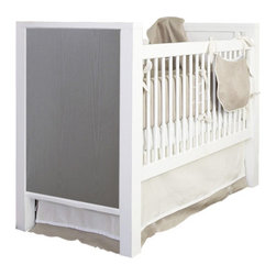Willow Glen Crib - cambas design + co. Willow Glen Crib is perfect for any nursery and also converts to a toddler bed. The finish is a high gloss white with a grey cerused end panel finish in ash wood. All of our products are made by hand in L.A.