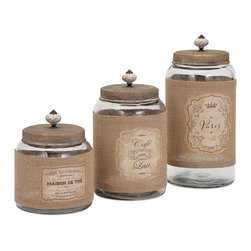 iMax Corpotation - Carley Lidded Glass Jars, Set of 3 - A trio of vintage-inspired lidded glass jars appear collected from the famed markets of Paris.