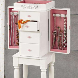 Coaster - Jewelry Armoire - Felt lined top compartment with flip top mirror. Four drawers. Two side doors with hooks. Turned legs. Raised scroll decorating on top compartment. Interior hooks provides convenient hanging space for necklaces, lockets and chains. Minimal assembly required. 13 in. W x 9.5 in. D x 35 in. H. WarrantyFor your bedroom or for your daughter or granddaughter's room, this matte white finish jewelry armoire is an ideal accessory. Whether the pieces in your jewelry collection are more costume or couture, this collection of jewelry armoires offers a stylish solution that meets all of your storage needs.