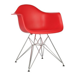 Ariel - Eames Style DAR Red Dining Armchair w/ Steel Eiffel Legs - Featuring a seat shell can be joined with a variety of different bases, the Eames Style DAR Molded Plastic Dining Armchair with Steel Eiffel Legs is the perfect addition for the dining area or home office. Can be used with seat and back cushions for added comfort. Available in multiple colors.