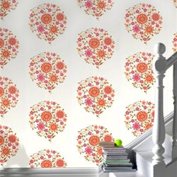 Amy Butler Memento Sunset Wallpaper - The perfect meld of modern and traditional, this sweetly sophisticated Amy Butler pattern is too pretty to pass up.