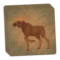 """Made on Terra - Moose in Pastel Thin Cork Coaster Set of 4 - You're just cleaning up after your epic party when you realize it... something's different. Unlike all those other times, you're not mopping up cup condensation from your counters and tables. This time, everyone used a coaster. Everyone. Maybe it's because you handed out a coaster with every glass. No. You've tried that before. No, this time it's because of the actual coasters. You found the cutest Made On Terra printed cork coasters. You love that everyone commented on how unique they were,  from the light-weight, thin cork material to the printing that creates a cool and subtle effect. Plus, they're really absorbent, but dry quickly. And they're made from an eco-friendly, sustainable resource, so that makes you feel pretty great, too. Choose from Made on Terra's many fabulous cork coasters. Measures 4"""" x 4"""" x 1/8"""". Made of thin cork. Super cute and nicely absorbent. Sold in sets of four."""