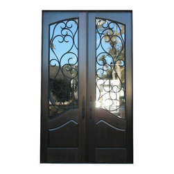 "WR-05, Toast - This Mediterranean style double door unit is constructed in solid sipo, sepeli or honduras mahogany. The standard glass insert is double pane low-e insulated glass. The door advertised on this website is for 2-36"" x 96"" x 1 3/4"" (6'.0"" x 8'.0"") prehung with 4 9/16"" mahogany jamb, oil rubbed bronze hinges, adjustable threshold, q-lon weatherstrip, clear double pane insulated glass and wrought iron inserts."