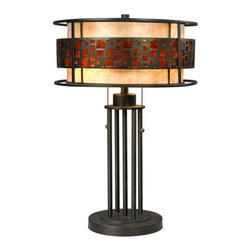 Z-Lite - Z-Lite Z14-50TL Milan 2 Light Table Lamps in Java Bronze - The Oak Park family finished in Java Bronze offers clean lines with simple, geometric forms to show true craftsman's styling. This 2 Light Table Lamp is finished in Java bronze paired with White and Amber Micca.