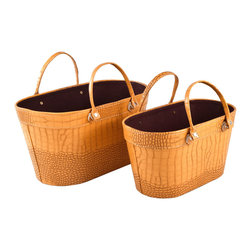 "Traders and Company - Faux Crocodile Skin Tote Baskets, Set of 2 - European-inspired faux crocodile skin trunks, trays, boxes and carry-alls. Reminiscient of early 20th century railway fashion; bright and classic looking pieces warm and enliven a space while providing functional storage and stylish display. Alternate shapes & styles sold separately. Dimensions: Lg = 18""Lx10.5""Wx9.5""H, Sm = 15.25""Lx8.5""Wx8.5""H"