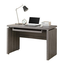 Monarch Specialties - Monarch Specialties 7303 Computer Desk in Dark Taupe - Sleek and contemporary, this dark taupe reclaimed wood-look desk is the perfect combination of function, durability and design in a modern form. With clean lines and thick panels, this desk will add style to any home office. It features a large size pull out keyboard tray with room for a mouse. A large desktop surface provides plenty of room for all your hardware and working needs.