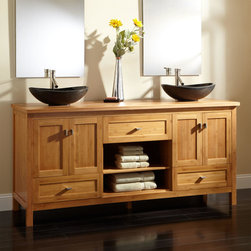 """72"""" Alcott Bamboo Double Vessel Sink Vanity - Maximize space in a master bath with the 72"""" Alcott Bamboo Vanity, which offers a multitude of ways to organize essentials."""