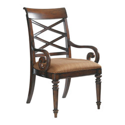 Lexington - Lexington Landara Cedar Point Arm Chair Set of 2 545-885-01 - A striking lattice design set upon the gracefully curving back brings an element of casual elegance to formal dining. Curled arms add a touch of sophistication and drama to the design. Featured in a woven pattern with highlights of sunset gold and cilantro green set on a chestnut background, the nailhead trimmed upholstered seat offers inviting comfort and style. Shown in standard fabric, Seabrook- A woven pattern with a chestnut background and highlights of sunset gold and cilantro green.