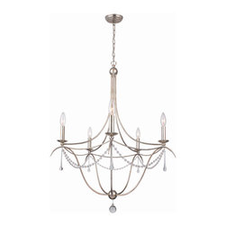 "Crystorama - Metro II Chandelier - Large - Chandelier with hand-painted wrought iron and hand-cut crystal beading and accents. Takes 5 - 60 w/c bulbs. Chain: 72"" Wire: 120"""
