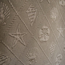 Seashell fabric ocean trellis starfish sand dollar brown - A sea shell scallop, sand dollar, star fish fabric. This matelasse fabric gives the effect is of a quilted fabric, it is neat!