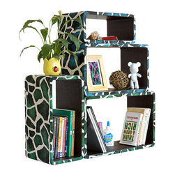 Blancho Bedding - [Blue Green Giraffe] Rectangle Leather Wall Shelf /  Floating Shelf (Set of 4) - These rounded corner wall cube shelves add a new and refreshing element to your room and can be easily combined with other pieces to create a customized wall space. Coming in various colors and sizes, they spice up your home's decor, add versatility, and create a whole new range of storage spaces. You can hang them on the wall, or have them stand on table or floor, any way you like. Fashion forward design has never been so functional. This range of faux leather storage cubes is sure to delight! Perfect for wall mounting, these modern display floating shelves are sure to delight. Constructed from MDF with a top faux leather wrapping. Easy to mount, easy to love! Attractive shelf boxes give any wall in your home a striking appearance. Arrange in whatever fashion you like - whether it be grouped together or displayed separately. Each box serves as a practical shelf, as well as a great wall decoration.