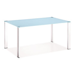 ZUO MODERN - Slim Dining Table White - Clean, simple, and elegant, the Slim dining table has a painted tempered glass top with four basic squared chrome steel tube legs. One of our best tables that highlight any style of chair put around it.