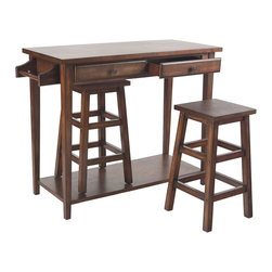 Holly & Martin - Holly & Martin Parkhills 3pc Breakfast Set - Add a touch of fun to your kitchen or dining room with this 3pc breakfast set. The hideaway stools are great features that help make this handy table a real space saver. The rich espresso stain creates a charming contemporary atmosphere that is sure to inspire compliments. The front has two side-by-side drawers so you can store all your silverware, napkins, and placemats. There is also a paper towel holder that can be placed on either side during assembly.