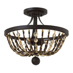 Frederick Ramond - Fredrick Ramond Hamlet 3-Light Sf Foyer - Hamlet is an updated basket-style chandelier that features strands of delicate chain-wrapped natural rope alternating with strands of light amber crystal. These elegant details contrast with the prominent arms in a lush Vintage Bronze finish.