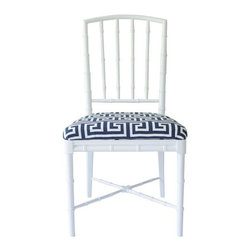Drexel - Pre-owned Drexel Faux Bamboo Chair with Greek Key Fabric - Vintage Drexel faux bamboo Chinese Chippendale chair, painted in white high gloss. Seat is upholstered in white and blue Greek key fabric. This charming accent chair is in great vintage condition.