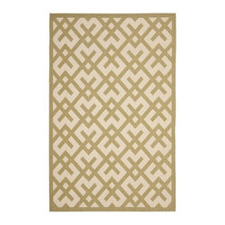 """Safavieh - Courtyard Beige / Green Rug - Safavieh takes classic beauty outside of the home with the launch of their Courtyard Collection. Made with enhanced polypropylene for extra durability, these rugs are suitable for anywhere inside or outside of the house. To achieve more intricate and elaborate details in the designs, Safavieh used a specially-developed sisal weave. Features: -Material: Polypropylene.-Style: Transitional.-Vacuum regularly. Brushless attachment is recommended..-Outdoor use.-Do not pull loose ends; clip them with scissors to remove..-Remove spills immediately; blot with clean cloth by pressing firmly around the spill to absorb as much as possible. For hard-to-remove stains professional rug cleaning is recommended..-Construction: Power Loomed.-Collection: Courtyard.-Distressed: No.-Collection: Courtyard.-Construction: Machine made.-Technique: Loomed.-Primary Color: Beige / Green.-Material: 100% Polypropylene.-Fringe: No.-Reversible: No.-Rug Pad Needed: Yes.-Water Repellent: Yes.-Mildew Resistant: Yes.-Stain Resistant: No.-Fade Resistant: Yes.-Swatch Available: No.-Eco-Friendly: No.-Recycled Content: 0%.-Outdoor Use: Yes.-Product Care: Just sweep, vacuum, or rinse off with a garden hose.Dimensions: -Pile Height: 0.25''.-Overall Dimensions: 67-134'' Height x 48-96 Width x 0.25'' Depth.-Overall Product Weight (Rug Size: 4' x 5'7""""): 7.82 lbs.-Overall Product Weight (Rug Size: 5'3"""" x 7'7""""): 13.93 lbs.-Overall Product Weight (Rug Size: 6'7"""" x 9'6""""): 21.89 lbs.-Overall Product Weight (Rug Size: 8' x 11'2""""): 31.28 lbs. About the Manufacturer: About Safavieh: Safavieh is a leading manufacturer and importer of fine rugs. Established in 1914 in the capital of Persian weaving masters, the company today brings three generations of knowledge and experience to its award-winning collections. In the United States since 1978, Safavieh has been a pioneer in the creation of high quality hand-made rugs, a trend that revolutionized the rug business in America. Its col"""