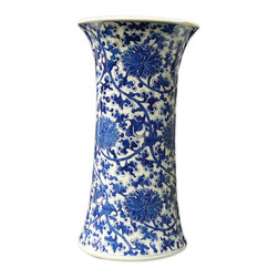 Golden Lotus - Chinese Vintage Blue & White Chrysanthemum Porcelain Vase - This is a vintage porcelain vase in blue and white finish. The graphic on the surface is handpainted with precise Chrysanthemum flowers detail.