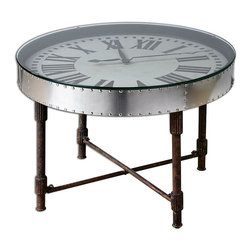 Cassem Clock Table - Make industrial detailing your own with this delightfully innovative treatment of decorative staples like rusted rods and gleaming rivets. The Cassem Clock Table incorporates a working oversized clock face under a polished glass top; any accents you choose to place on top contrast with the moving hands for layered intrigue. The four-legged stand brings in a striking patina.