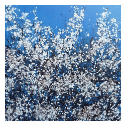 Spring Blossom, Original, Painting - A floral abstract painting in splash or drip art style here with a little more control applied. the technique looks random and and easy to achieve, however these take quite a bit of planning to create a balance across the whole piece built up over several layers. this artwork represents the first blossom of spring, the beautiful blackthorn bush that lights up our hedgerows after winter. a stunning work of abstract floral art that will light up any room in a contemporary environment.