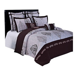 Bed Linens - Gizelle 100% cotton Embroidered 7pc Duvet cover Set, Full/Queen - The Gizelle Brown, Light Pink and Grey by Royal Hotel Collection is a rich contemporary Embroidered/Print design in warm stylish tones. The duvet cover set is completed with coordinated Two Pillow shams, Two European shams & Two Decorative cushions. The over all look is one of the simplicity and elegance that will be enjoyed for years to come. The Quilt cover & pillowcases, European pillowcases, and Cushion covers are made of 100% Cotton and the cushion covers are filled with polyester.