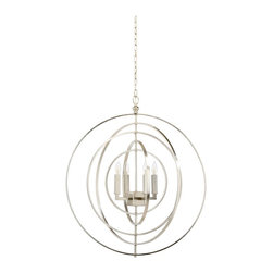 Chelsea House - Chelsea House Nickel Globe 30'' Wide Chandelier - For decades Chelsea House has brought warmth and beauty to homes with its extensive line of furniture lighting art mirrors and decorative accessories. Chelsea House believes that hospitality is still important that nothing takes the place of hand-craftsmanship and that business is still best done among friends. Chelsea House is not about trends that are here today and gone tomorrow but rather we are grounded in classic design with a fresh attitude for todays living. They know that true beauty transcends time. The high standards of Chelsea House in both quality and sophistication is why the Chelsea House name remains one of the most sought-after names in home furnishings. Features include Nickel Finish 4 lights - Lisa Kahn Design.