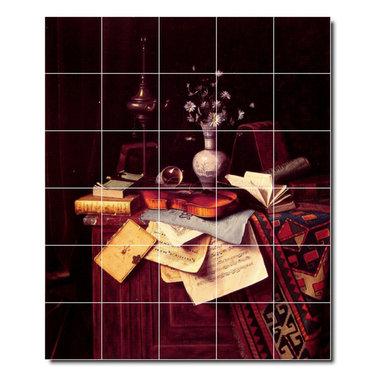 Picture-Tiles, LLC - Music Tile Mural By William Harnett - * MURAL SIZE: 72x60 inch tile mural using (30) 12x12 ceramic tiles-satin finish.