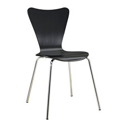 Modway - Modway EEI-537 Ernie Dining Side Chair in Black - Minimalist in nature though it may be, this seat doesn't skimp on comfort. Its seemingly rigid design, flexes to the contours of the human body, making it a great side chair for homes and businesses alike.