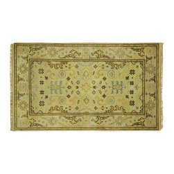 Manhattan Rugs - New Pistachio Green Oushak Hand Knotted Wool Turkish 3'x5' Floral Area Rug H5636 - Oushak rugs originated in the small town of Oushak in west central Anatolia, roughly 100 miles south of the city of Istanbul in Turkey. Oushak has produced some of the most decorative Persian influenced rugs of all times. Oushak has been a production center of Turkish rugs since the 15th century. In the late 15th century the 'design revolution' took place. Before, producing carpets was part of the nomad culture, meeting people's daily needs, but for the first time the works of designing and weaving rugs were split in two. These Turkish rugs began to be produced commercially. From the 16th up to the 18th century the most famous manufacturers of ottoman times worked in Oushak. A special heirloom wash produces the subtle color variations that give rugs their distinctive antique look.