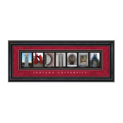 College Letter Framed Wall Art - Indiana University - 20W x 8H in. - A stylish graduation gift, this College Letter Framed Wall Art - Indiana University - 20W x 8H in. shows Hoosier pride. Beautifully framed and matted professional pictures show off key spots on campus that spell out Indiana. The crimson and cream matting has a decorative scroll design, a clear glass front protects, and a black vinyl-wrapped engineered wood frame rounds it out nicely. This framed print includes Indiana University script, details of where each picture was taken, and comes ready to hang. Go Hoosiers!