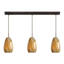 Besa Lighting - Besa Lighting 3JV-4126HN Pera 3 Light Linear Pendant - The Pera 9 is a curvy bell-bottomed shape, that fits nicely into any contemporary design. This unique decor is handcrafted, with layered swirls of yellow-amber and golden-brown against white, finished to a high gloss. It's classic swirl pattern and high gloss surface has a truly florid gleam. Honey is a hand-blown glass designed to have a shiny and polished finish. The glass is gathered and rolled into shape a unique pattern is formed that cannot be replicated. This blown glass is handcrafted by a skilled artisan, utilizing century-old techniques passed down from generation to generation. Each piece of this decor has its own unique artistic nature that can be individually appreciated. The cord pendant fixture is equipped with three (3) 10' SVT cordset and a 3-light bar canopy.Features: