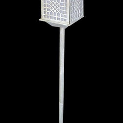 AA Importing - Asian Inspired Standing Cast Iron Lantern wit - Light up your deck, patio or garden in style with this Asian inspired lantern, a cast iron pagoda shaped lantern that will bring a cool elegance to any decor. The lantern features a tripod base and would be perfect paired with coordinating units for a lush lighting effect. With stand. Cast iron. 8.5 in. L x 8.5 in. W x 45 in. H