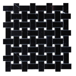 $10.95SF Nero Marquina Basketweave Mosaic Marble Tile - Premium Spanish Nero Marquina Basketweave black marble mosaic from TheBuilderDepot.com