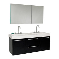 Fresca - Opulento Black Double Sink Vanity w/ Medicine Cabinet Fortore Chrome Faucet - There is always great design in simplicity.  Double the greatness with this double sink vanity with accompanying medicine cabinet.  To ease any storage worries, beautiful mirrored medicine cabinet will satisfy immediate storage needs for two.  A beautiful widespread chrome faucet is also included.  A great ensemble for those with room to spare but not without limitations on measurements.  Ideal for anyone looking for a winning combination of style, sleek design, and size that brings it all together to present something dashingly urban.