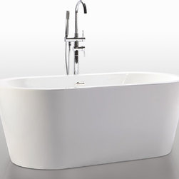 """HelixBath Pella Freestanding Acrylic Bathtub 63"""" White w/ Rectangle Overflow - Designs created for bathing purists. The curves and lines are well conceived & uncomplicated. Helixbath�s well tailored soaking tubs provide an ergonomic comfortable spa experience. Featuring an easy to clean 3M Fade Resistant finish and stainless steel frame, Pella is the very definition of beautiful longevity. Smooth lineal side lines meet precisely curved angled ends. Pella has been hailed the most sophisticated contemporary curved design in the Helix line. Faucets pictured are for display purposes and not included with this tub."""
