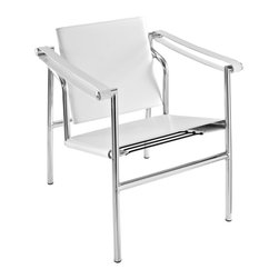 LexMod - Le Corbusier Style LC1 Sling Chair in Genuine White Leather - Le Corbusier-inspired campaign chair, imposing, serious about comfort. Add some poise and position to your room with this intimidatingly excellent piece.