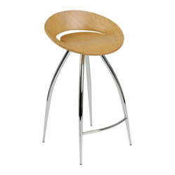 Rubin-C Counter Stool-Nat/Chrm - Take command of the counter when you sit on this futuristic-inspired stool. It features a disc-shaped seating area and four extraterrestrial, no, wait … extraordinary legs that keep you grounded (on Earth).