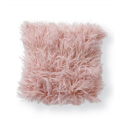 Frontgate - Ostrich Feather Decorative Pillow - Face covered in ostrich feathers dyed Mauve. Backside is solid Mauve fabric. Feather/Poly insert included. Sewn with a hidden zipper closure. Billowing with layers of feathered pizzazz, our Ostrich Feather Decorative Pillow blossoms with personality. The face of this exuberant pillow is covered in downy ostrich feathers dyed a lovely shade of Mauve. The fabric backside coordinates with its feathered front. Filled with a feather/poly insert, this piece is poof perfection.  .  .  .  . Made in USA.