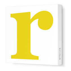 "Avalisa - Letter - Lower Case 'r' Stretched Wall Art, 12"" x 12"", Dark Yellow - Spell it out loud. These lowercase letters on stretched canvas would look wonderful in a nursery touting your little one's name, but don't stop there; they could work most anywhere in the home you'd like to add some playful text to the walls. Mix and match colors for a truly fun feel or stick to one color for a more uniform look."