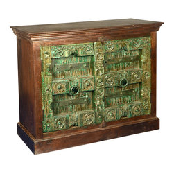 Sierra Living Concepts - Old Antique Reclaimed Wood 2 Door Teak Wood Storage Buffet Cabinet - These Emerald Green ornate cabinet doors would make the Wizard of Oz envious.