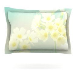 """Kess InHouse - Monika Strigel """"Happy Spring"""" Yellow Teal Pillow Sham (Cotton, 30"""" x 20"""") - Pairing your already chic duvet cover with playful pillow shams is the perfect way to tie your bedroom together. There are endless possibilities to feed your artistic palette with these imaginative pillow shams. It will looks so elegant you won't want ruin the masterpiece you have created when you go to bed. Not only are these pillow shams nice to look at they are also made from a high quality cotton blend. They are so soft that they will elevate your sleep up to level that is beyond Cloud 9. We always print our goods with the highest quality printing process in order to maintain the integrity of the art that you are adeptly displaying. This means that you won't have to worry about your art fading or your sham loosing it's freshness."""